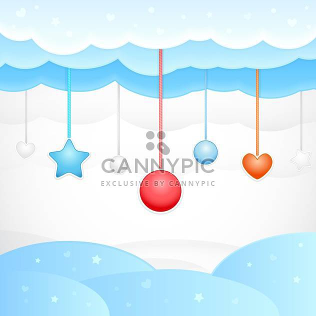 Vector illustration of blue dream background with clouds and christmas decorations - Free vector #125720