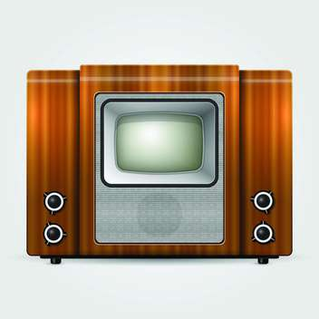 Vector illustration of old brown vintage tv - vector gratuit #125730