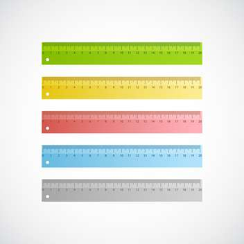 Vector illustration of colorful rulers with scale of centimeters on white background - Free vector #125790