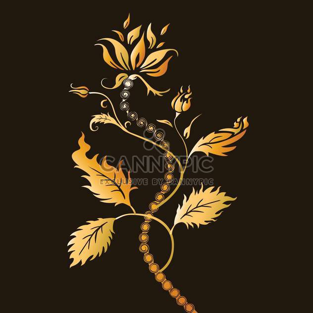 Vector illustration of abstract floral background with beautiful golden color flower - Free vector #125800