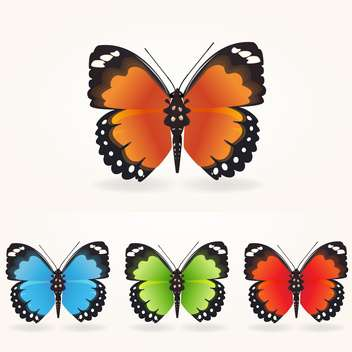 Vector illustration set of colorful beautiful butterflies collection on white background - Free vector #125860