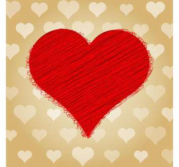 Vector illustration of valentine card with big scribble red heart on brown background - Free vector #125920