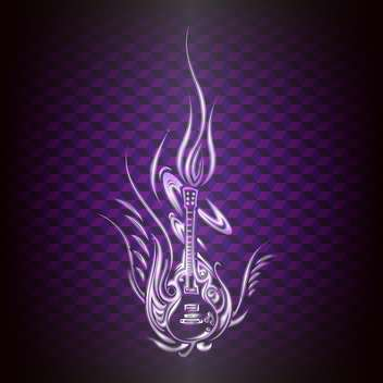 Vector abstract guitar with fire flame on purple background - vector gratuit(e) #125930