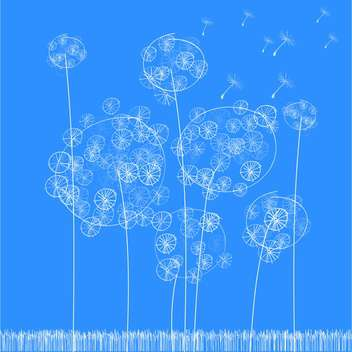 Vector illustration of fluffy white dandelions on blue background - бесплатный vector #126080