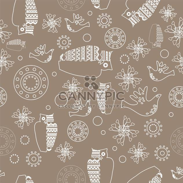 Vector gray color folk background with white owls - Free vector #126100