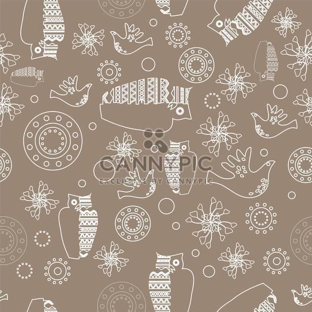 Vektor-graue Farbe folk Hintergrund mit weißen Eulen - Kostenloses vector #126100