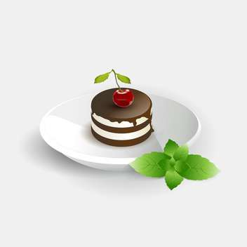 vector illustration of cherry cake on white plate - vector gratuit #126110
