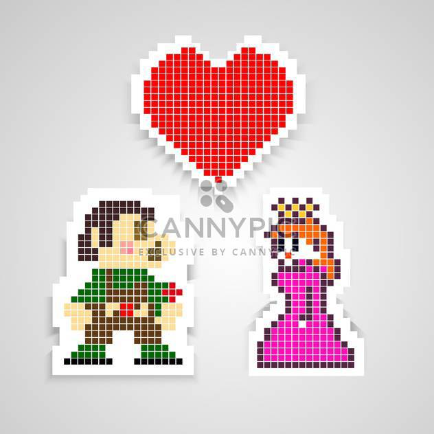 Vector cartoon illustration of mario with princess and red heart on grey background - Free vector #126130