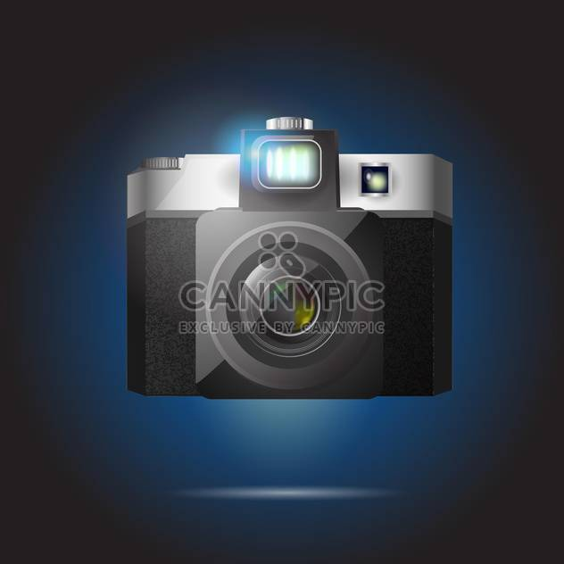 Vector illustration of black retro camera on dark background - Free vector #126140