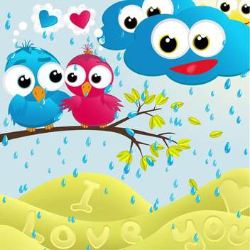 Vector illustration of lovely cartoon birds couple sitting on branch under rain - Free vector #126170