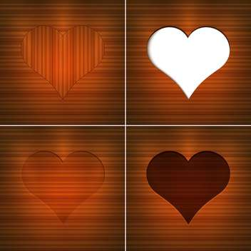 Vector illustration of hearts on brown wooden background with text place - vector gratuit(e) #126180