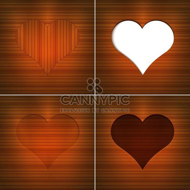 Vector illustration of hearts on brown wooden background with text place - Free vector #126180