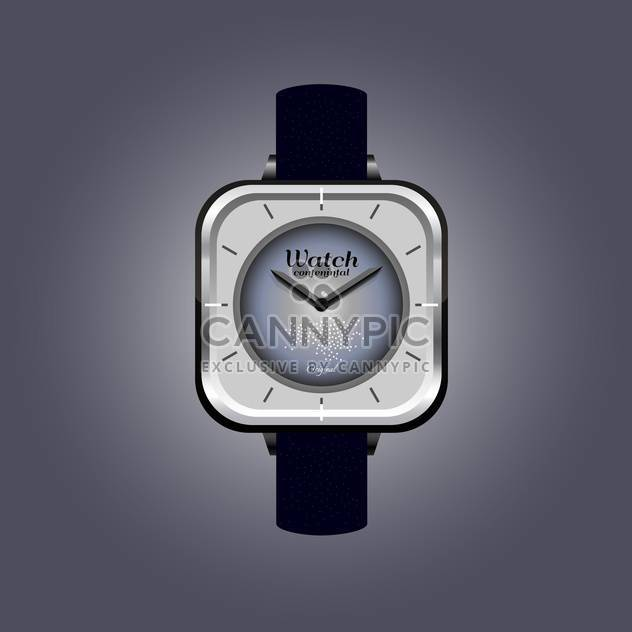 Vector illustration of analog male wrist watch on dark grey background - Free vector #126190