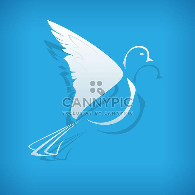 Vector illustration of white paper origami dove on blue background - Free vector #126220