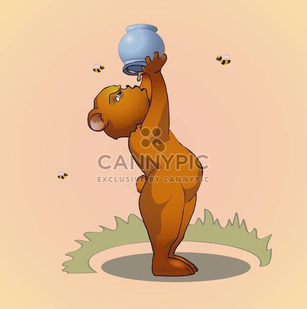 Vektor-Illustration Karikatur tragen Essen Honig auf rosa Hintergrund - Free vector #126380