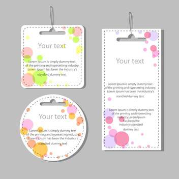 Vector set of colored labels with colorful dots on grey background - Kostenloses vector #126450