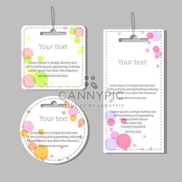 Vector set of colored labels with colorful dots on grey background - Free vector #126450