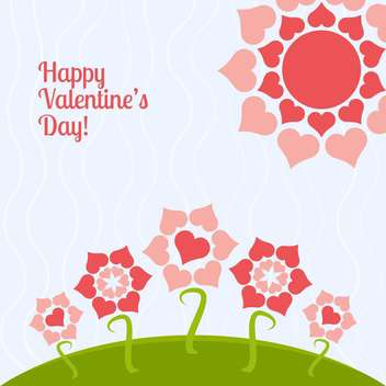Vector card for holiday background with heart shape flowers - Free vector #126460