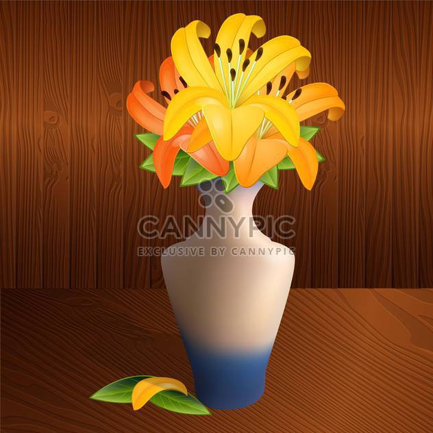 Vector illustration of vase with yellow lilies on brown background - Free vector #126550