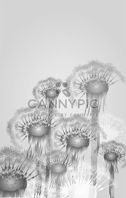 Vector background with delicate dandelions on grey background - Free vector #126570