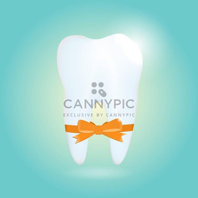 Vector illustration of shiny tooth with orange ribbon on blue background - Free vector #126580