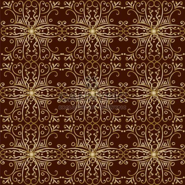 Vector illustration of vintage background with golden pattern on brown background - Free vector #126610