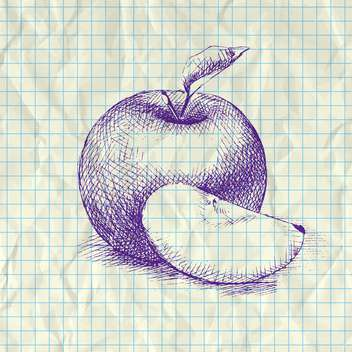sketch illustration of apple on notebook paper - бесплатный vector #126620