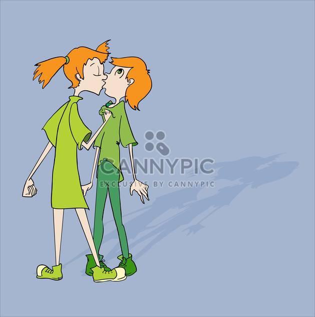 farbige Darstellung der beiden Kinder küssen einander auf blauem Hintergrund - Kostenloses vector #126640
