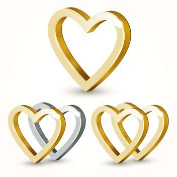Vector golden hearts isolated on white background - vector gratuit #126660