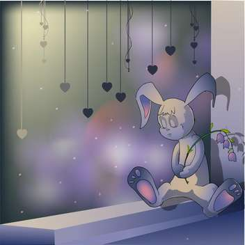 Vector illustration of sad bunny sitting with flower in hand - vector #126670 gratis