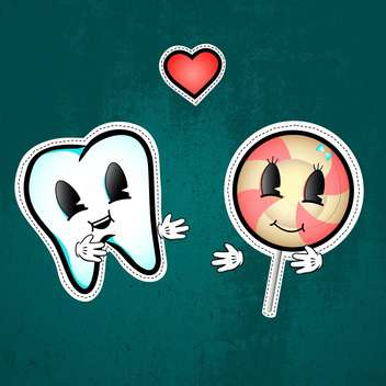 Vector illustration of love between tooth and lollipop on green background - бесплатный vector #126680