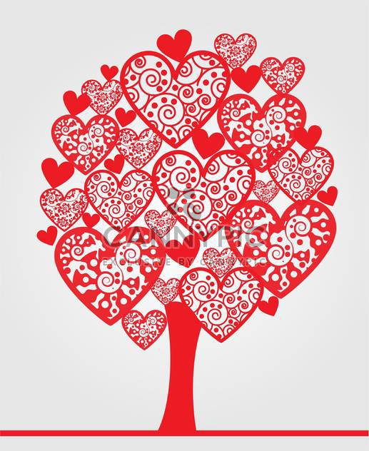love tree made of hearts on white background - Free vector #126720