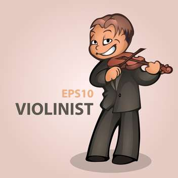 Vector cartoon violinist on pink background - vector gratuit #126790