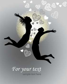 Vector background with jumping couple with hearts - бесплатный vector #126810
