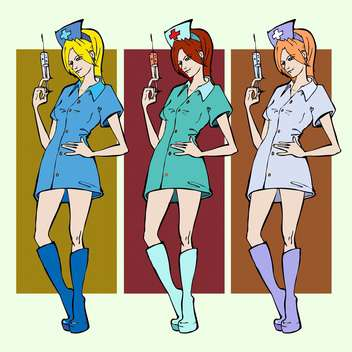 colorful illustration of nurses with syringes in hand - Free vector #126870