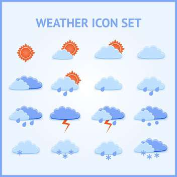 Vector set of weather icons on blue background - vector gratuit #126910