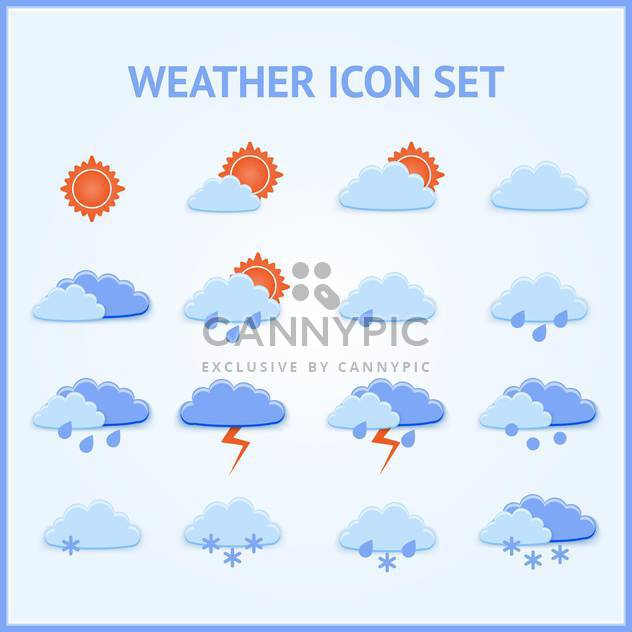 Vector set of weather icons on blue background - Free vector #126910