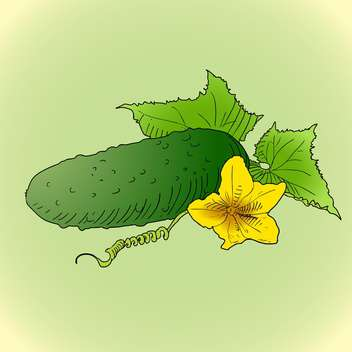 colorful illustration of cucumber with green leaves and yellow flower on green background - vector gratuit(e) #126950