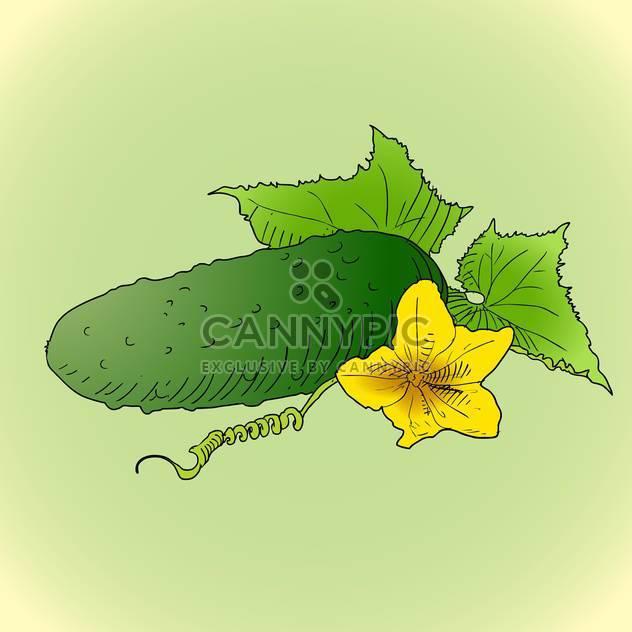 bunte Illustration der Gurke mit grünen Blättern und gelben Blumen auf grünem Hintergrund - Free vector #126950