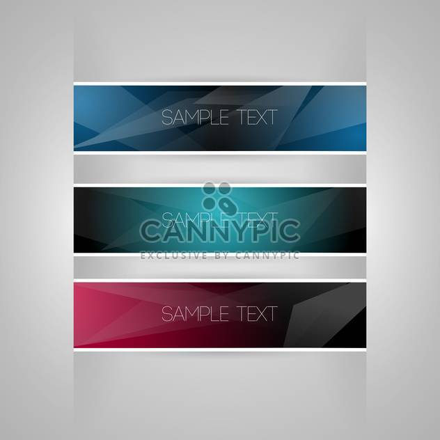 Vector set of colored banners on grey background with text place - Free vector #126970