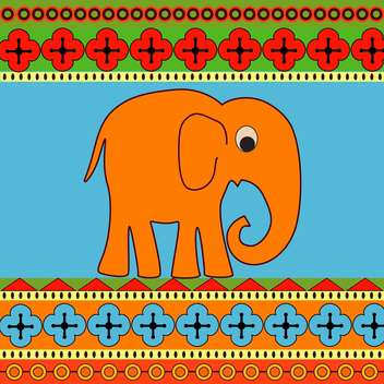 Vector background with cartoon colorful cute elephant - Free vector #127020