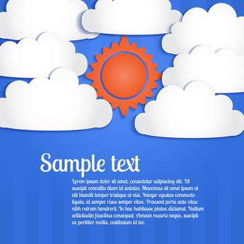 Vector blue background with white clouds and sun in sky - Free vector #127040