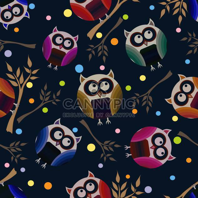 vector illustration of dark blue background with owls - Free vector #127070