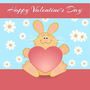 Vector greeting card with rabbit for Valentine's day - vector gratuit(e) #127080