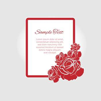 Vector floral frame with red roses and text place - vector #127090 gratis