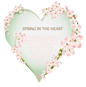 Postcard with spring heart and flowers on white background - vector gratuit #127120
