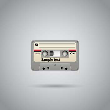Old-school cassette tape record with text place on grey background - vector #127130 gratis