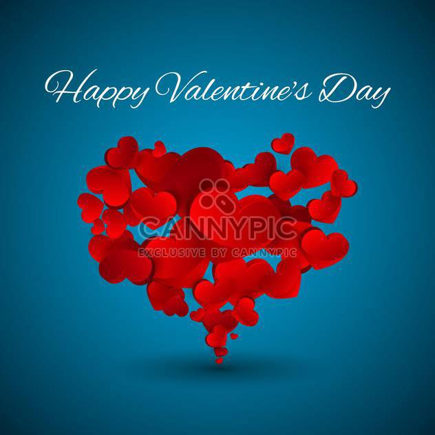 Vector Valentine blue background with red hearts - Free vector #127150