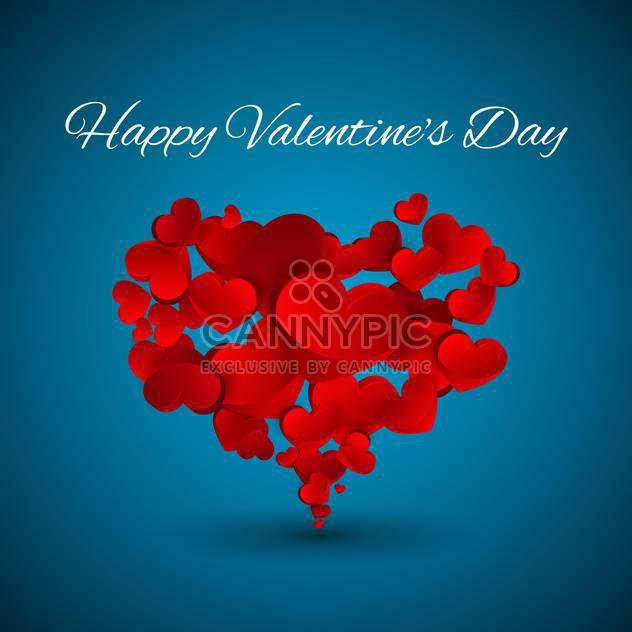 Vektor Valentine blauer Hintergrund mit roten Herzen - Kostenloses vector #127150