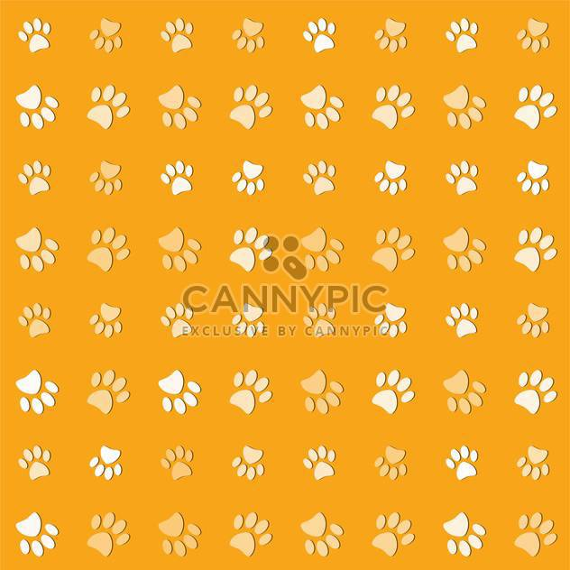 Vector illustration of animals paws print on yelow background - Free vector #127210
